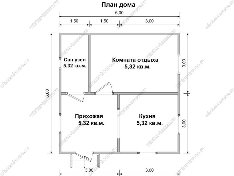 Планировка одноэтажного каркасного дома 6 на 6