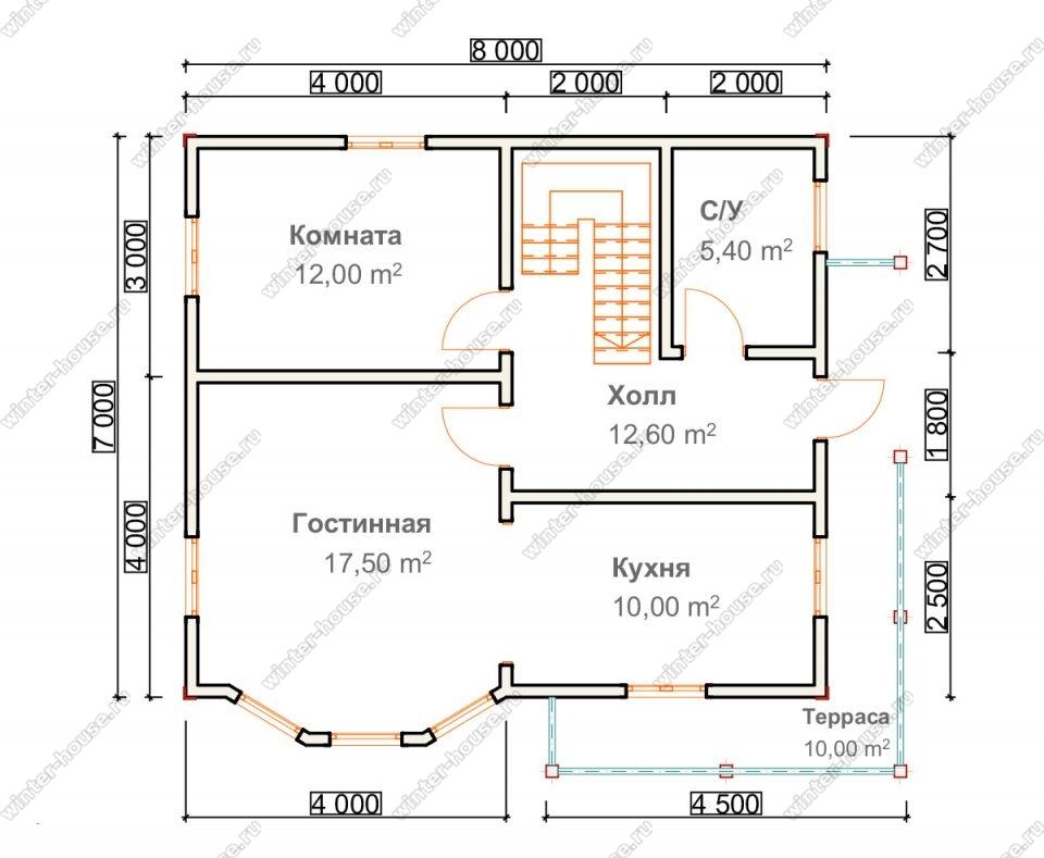 Планировка двухэтажного дома для постоянного проживания 8 на 8 с террасой