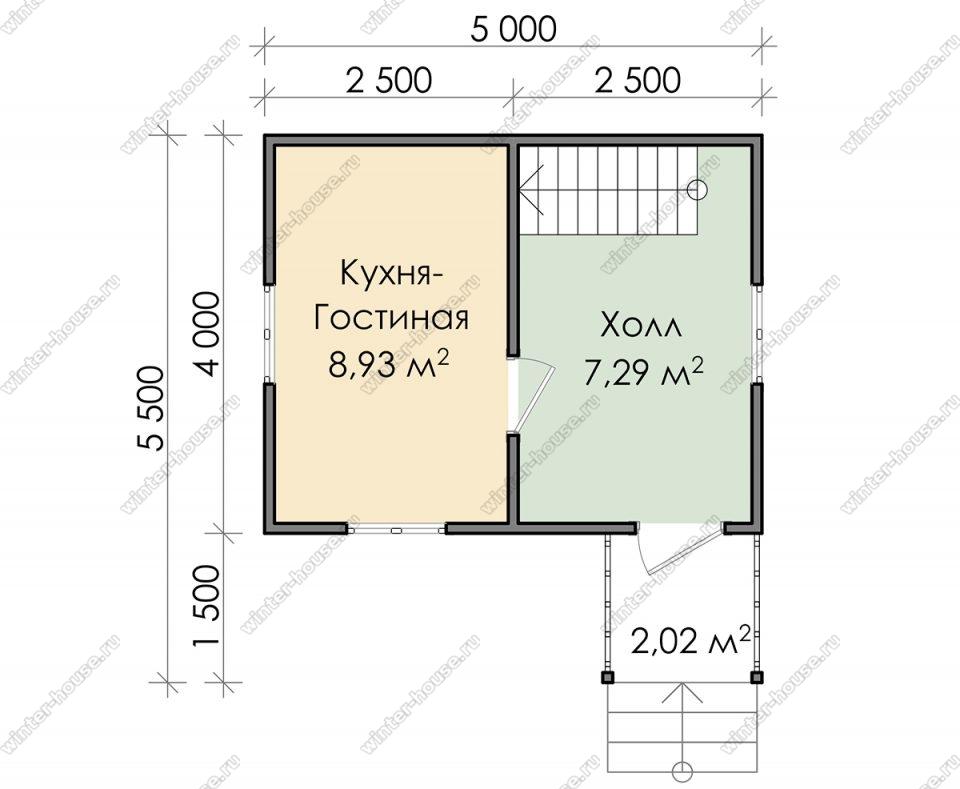 Планировка дачного дома 5,5 на 5 с мансардой