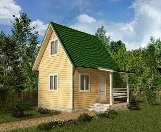 Проект дачного дома 5,5 на 5 с мансардой и террасой