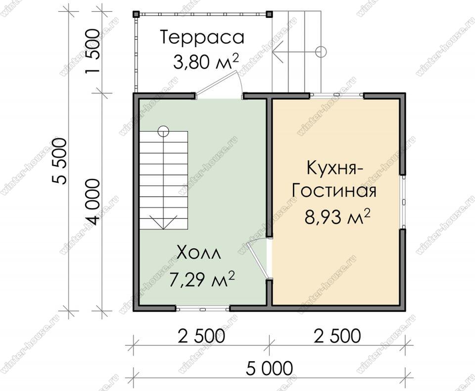 Планировка дачного дома 5,5 на 5 с мансардой и террасой