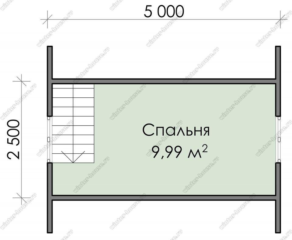 План дачного дома 5,5х5 с мансардой и террасой