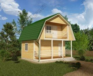 Проект дома для постоянного проживания 6 на 6 с мансардой и террасой