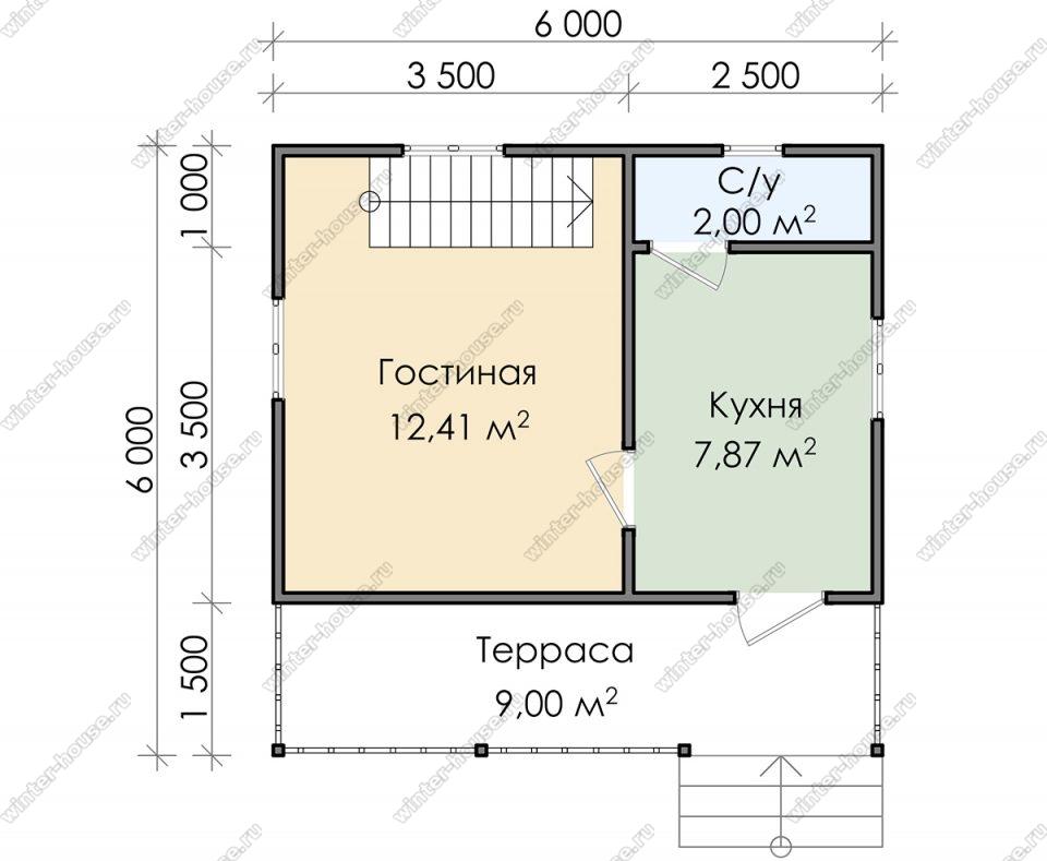 Планировка дома для постоянного проживания 6 на 6 с мансардой и террасой
