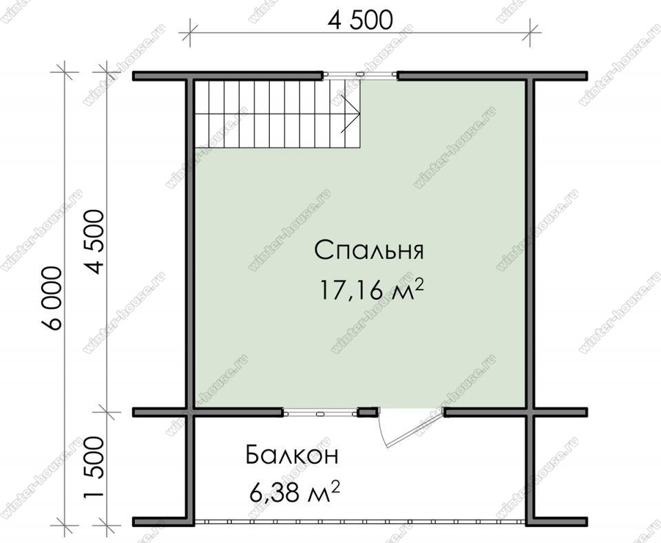 План дома для постоянного проживания 6х6 с мансардой и террасой