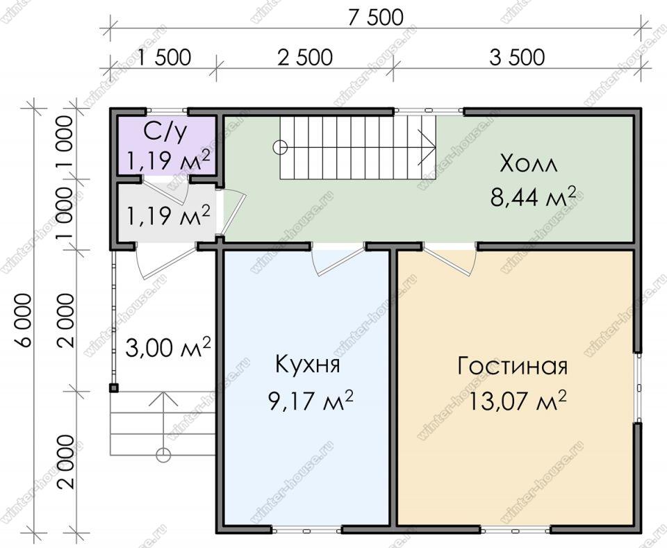 Планировка дома для постоянного проживания 7,5 на 6 с мансардой и террасой