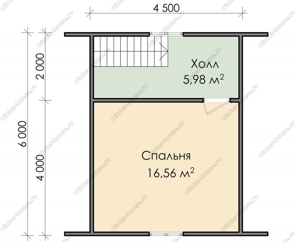 План дома для постоянного проживания 7,5х6 с мансардой и террасой