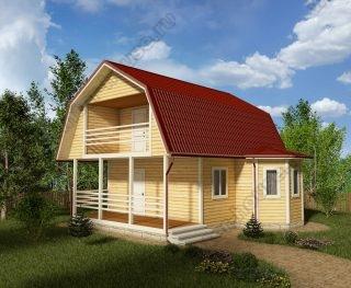 Проект дома для постоянного проживания 8 на 8 с мансардой и террасой