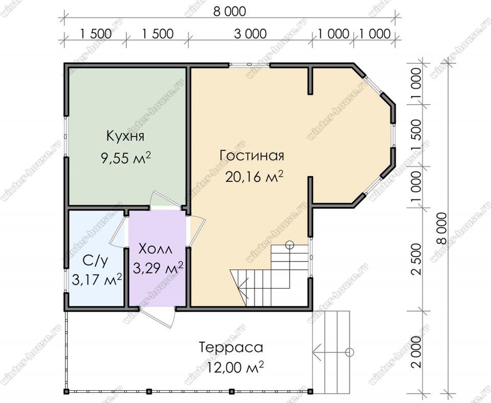 Планировка дома для постоянного проживания 8 на 8 с мансардой и террасой