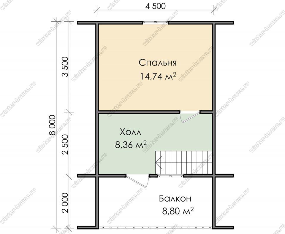 План дома для постоянного проживания 8х8 с мансардой и террасой