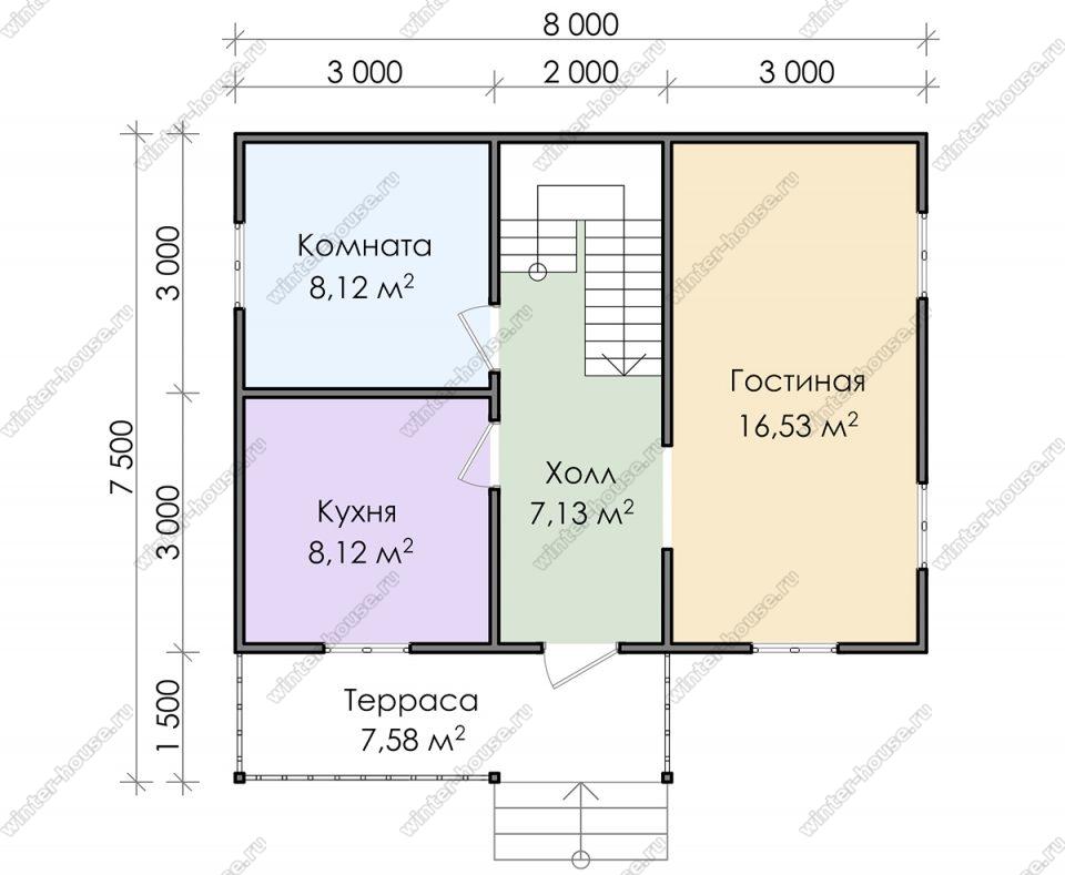 Планировка дачного дома 7,5 на 8 с мансардой и террасой
