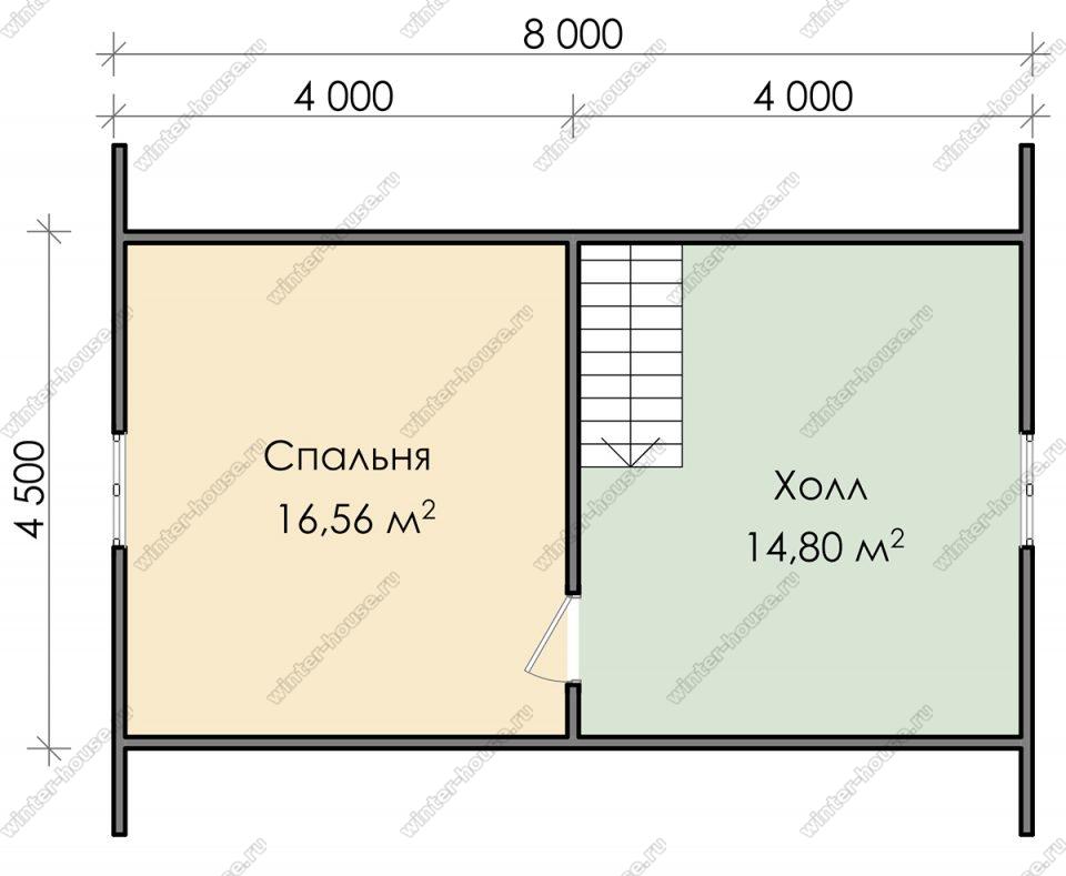 План дачного дома 7,5х8 с мансардой и террасой