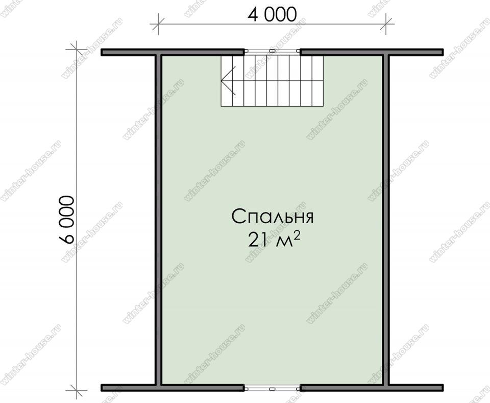 План дачного дома 6х6 с мансардой и террасой