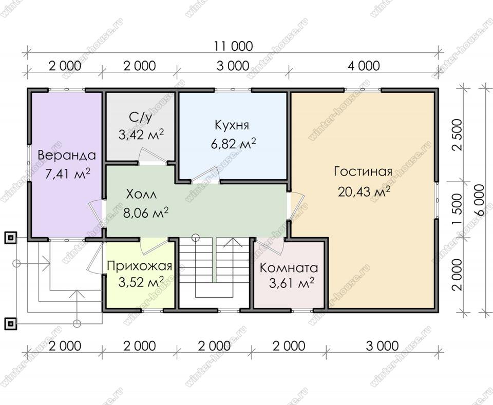 Планировка двухэтажного дома для постоянного проживания 11 на 6