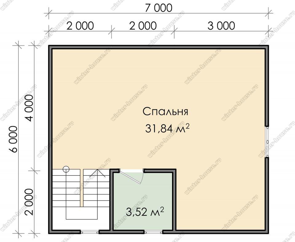 План двухэтажного дома для постоянного проживания 11х6