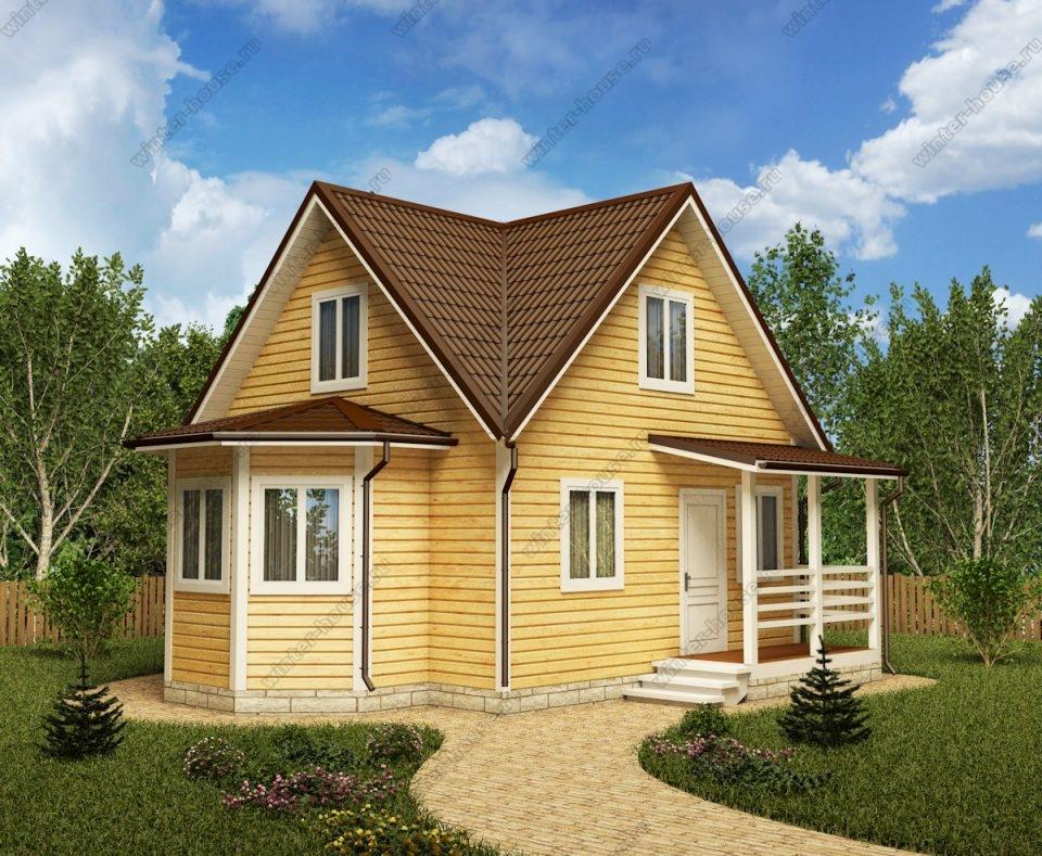 Проект дачного дома 8 на 8 с мансардой и террасой