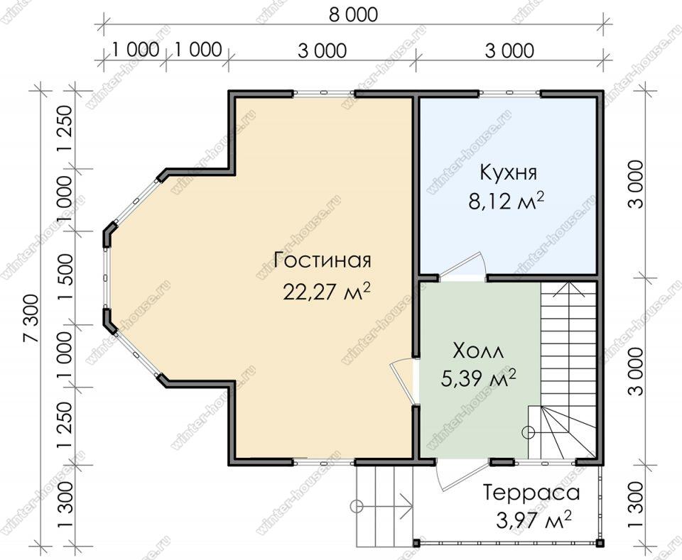 Планировка дачного дома 8 на 8 с мансардой и террасой