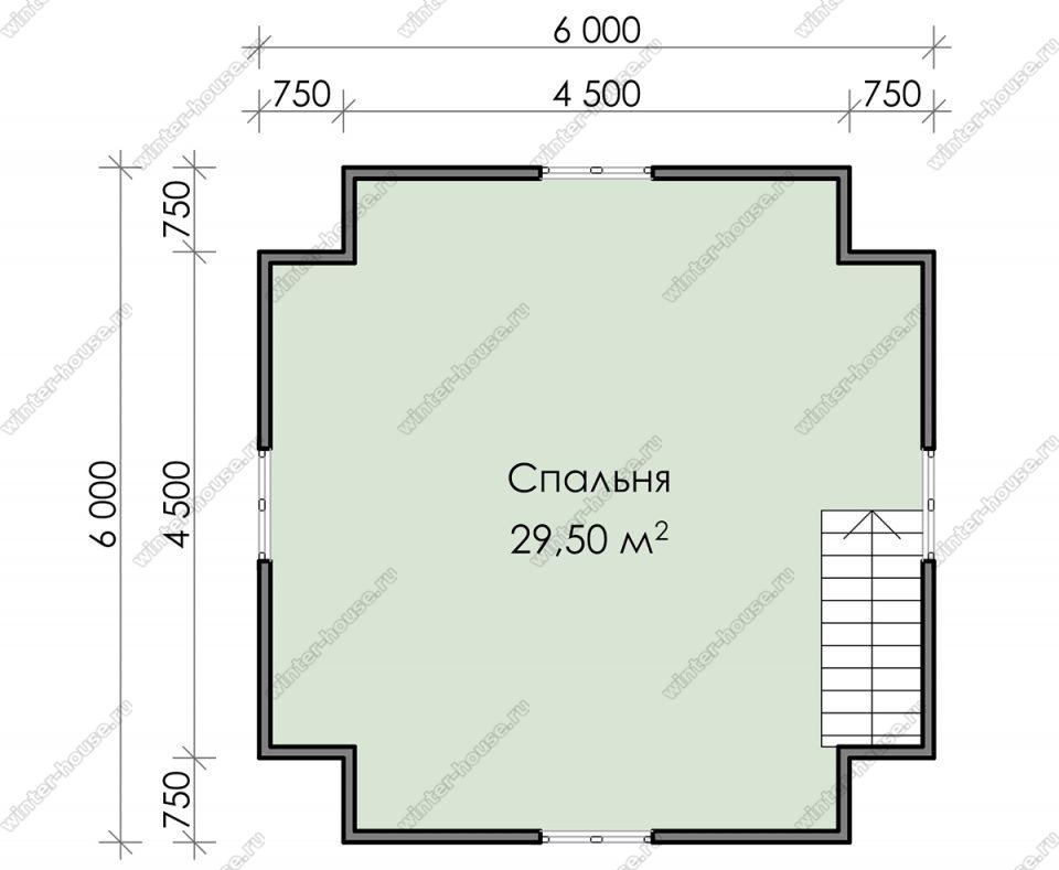 План дачного дома 8х8 с мансардой и террасой