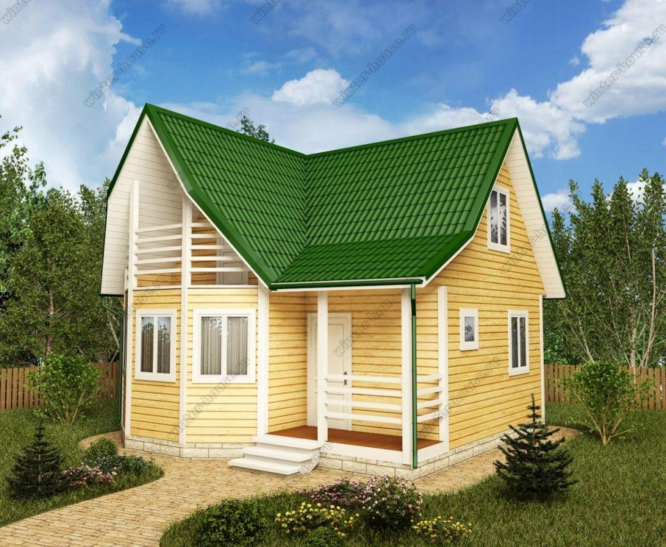 Проект дома для постоянного проживания 7 на 7 с мансардой