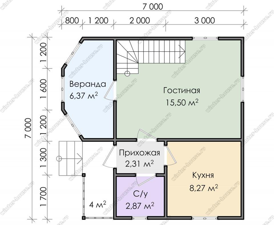 Планировка дома для постоянного проживания 7 на 7 с мансардой