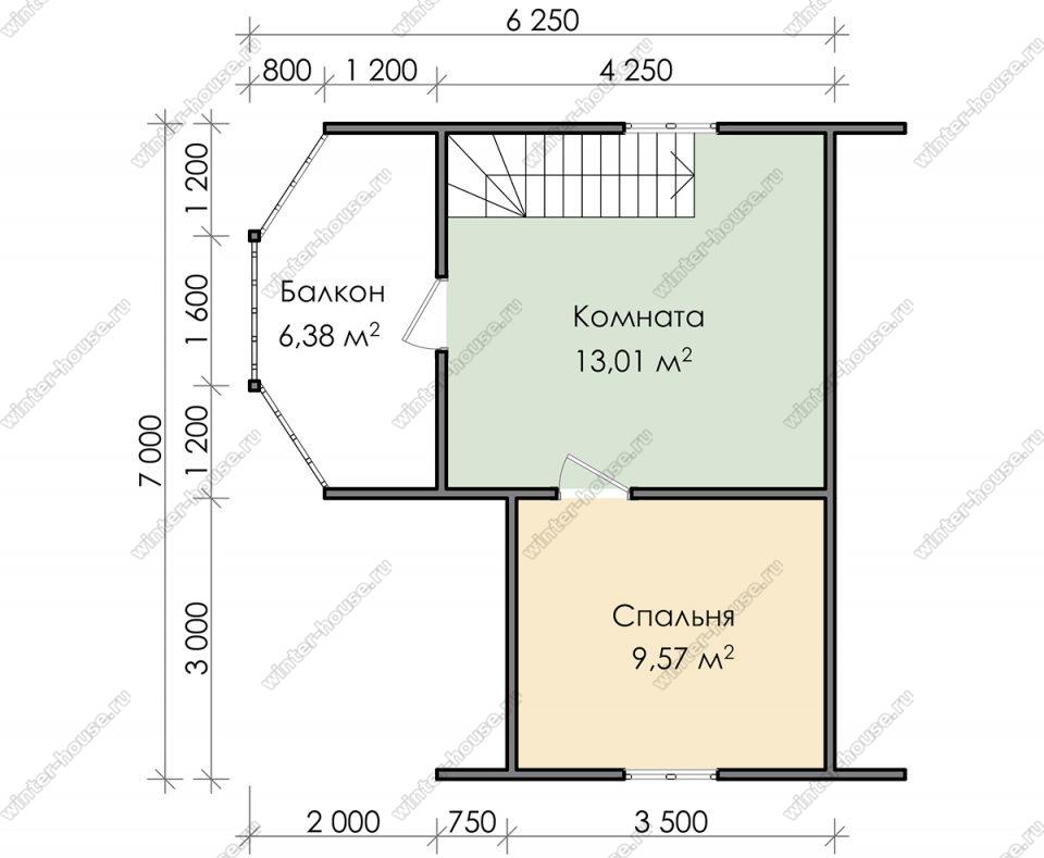 План дома для постоянного проживания 7х7 с мансардой