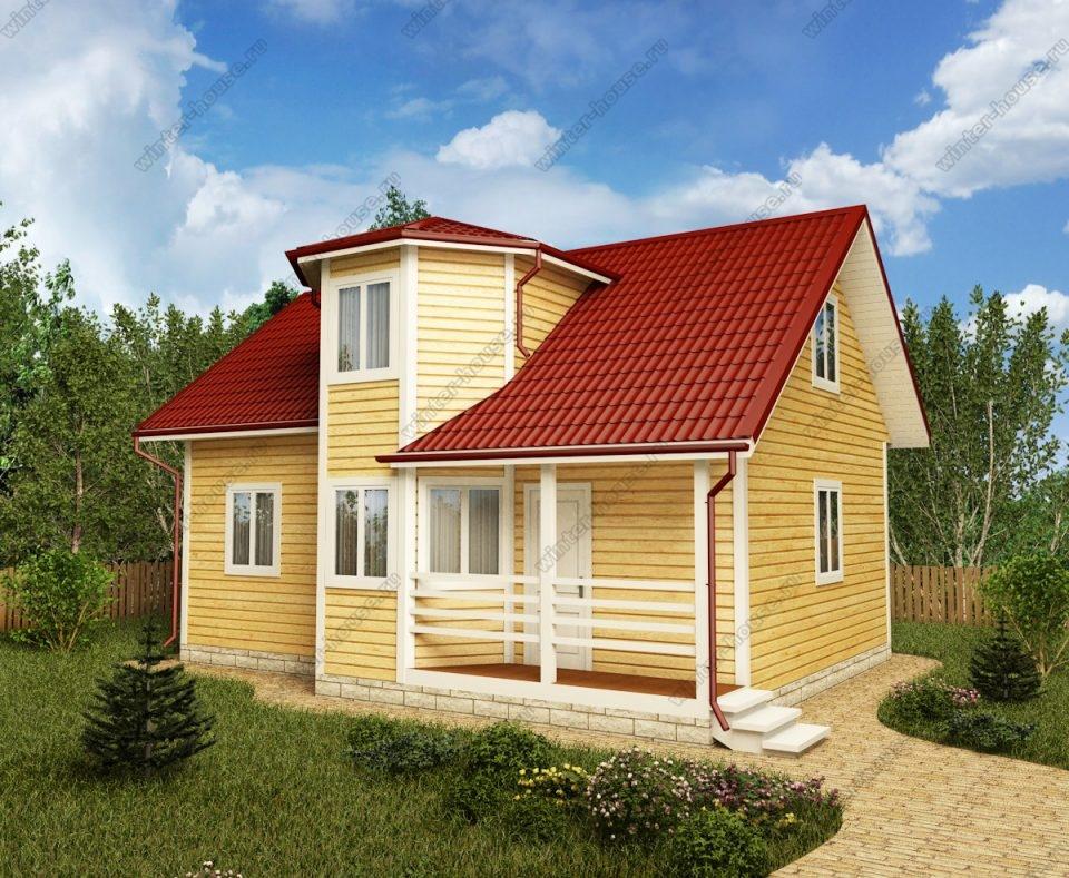 Проект дома для постоянного проживания 7 на 9 с мансардой
