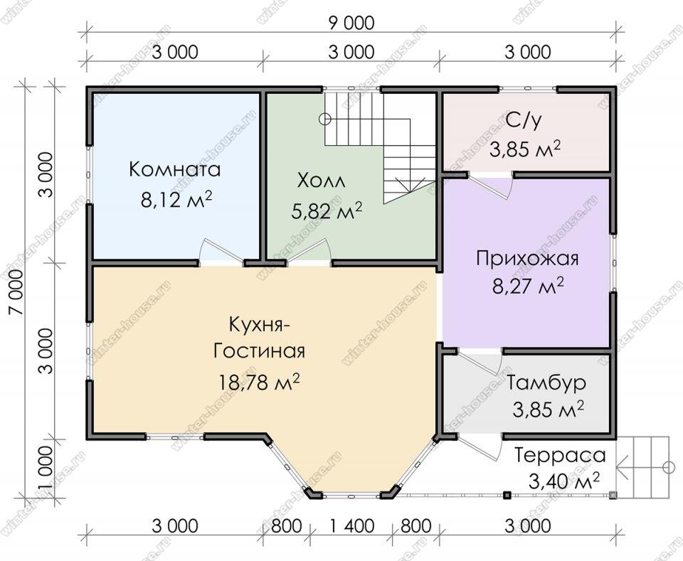 Планировка дома для постоянного проживания 7 на 9 с мансардой