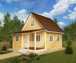 Проект дачного дома 6 на 8 с мансардой и террасой