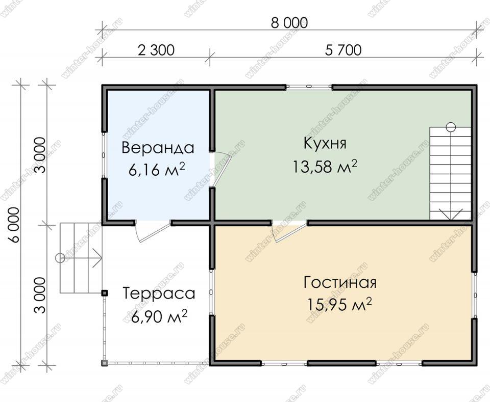 Планировка дачного дома 6 на 8 с мансардой и террасой