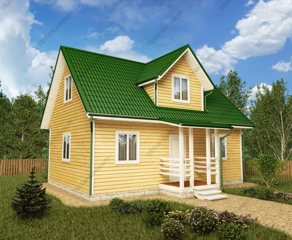 Проект дома для постоянного проживания 9 на 7,5 с мансардой