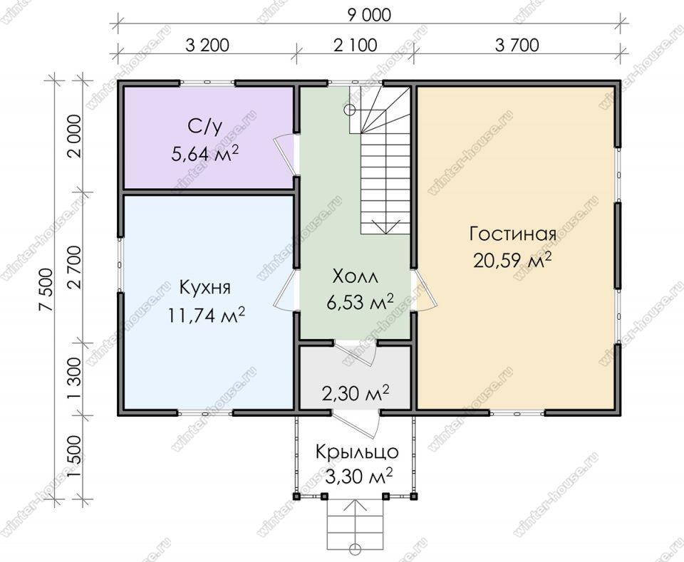 Планировка дома для постоянного проживания 9 на 7,5 с мансардой