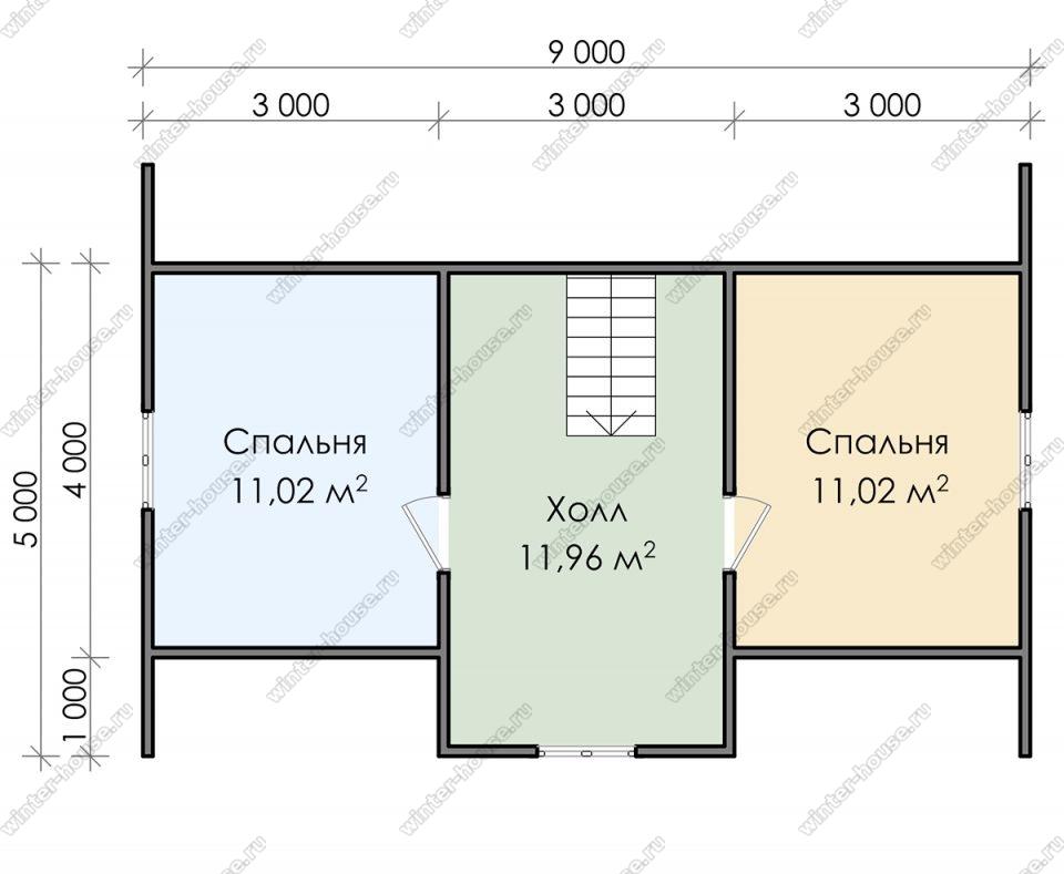 План дома для постоянного проживания 9х7,5 с мансардой