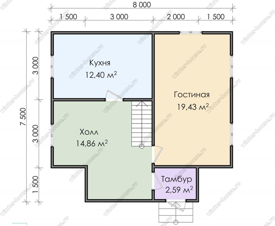 Планировка дачного дома 7,5 на 8 с мансардой
