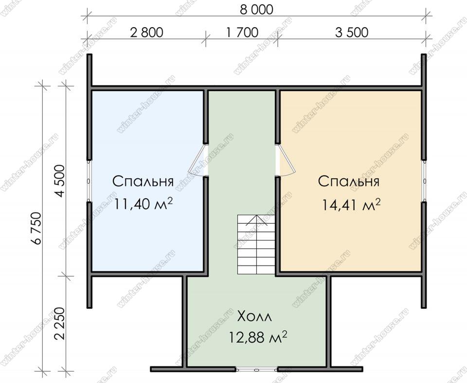 План дачного дома 7,5х8 с мансардой