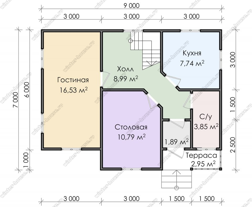 Планировка дома для постоянного проживания 7 на 9 с мансардой и террасой