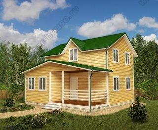 Проект двухэтажного дома для постоянного проживания 8 на 8 с террасой