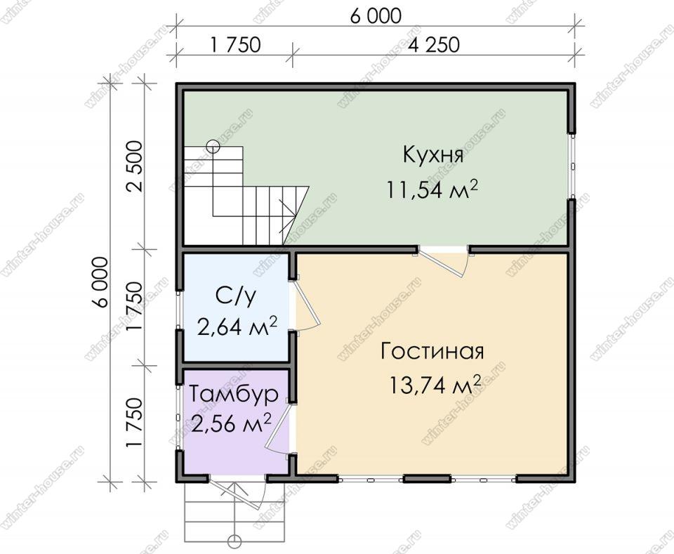 Планировка дома для постоянного проживания 6 на 6 с мансардой