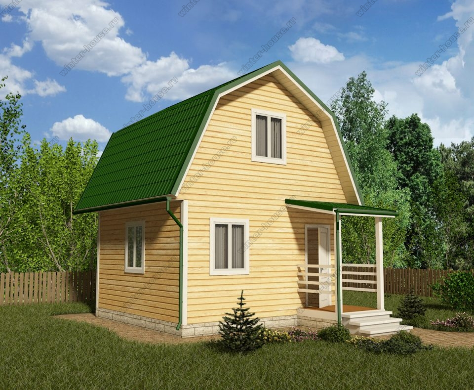 Проект дачного дома 5 на 5 с мансардой