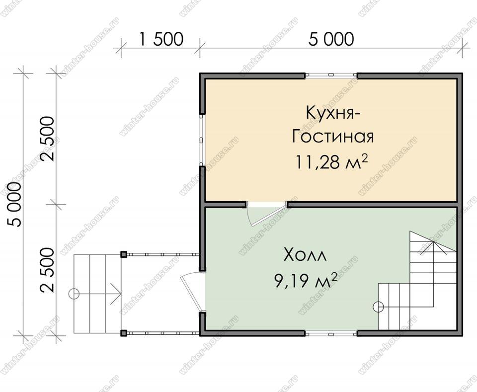 Планировка дачного дома 5 на 5 с мансардой