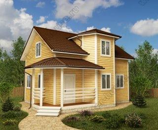 Проект дома для постоянного проживания 7 на 8 с мансардой и террасой
