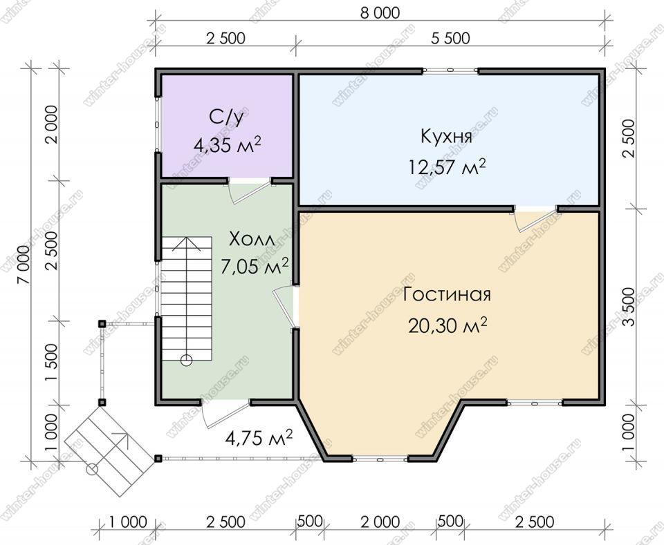Планировка дома для постоянного проживания 7 на 8 с мансардой и террасой