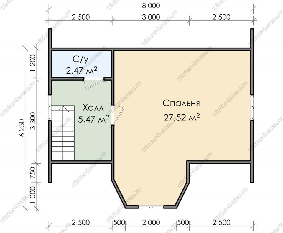 План дома для постоянного проживания 7х8 с мансардой и террасой