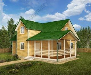 Проект дома для постоянного проживания 11 на 13 с мансардой и террасой