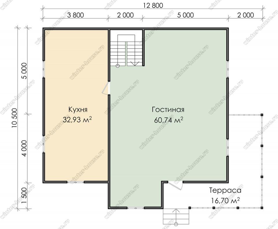 Планировка дома для постоянного проживания 11 на 13 с мансардой и террасой
