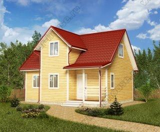 Проект дома для постоянного проживания 7 на 9 с мансардой и террасой