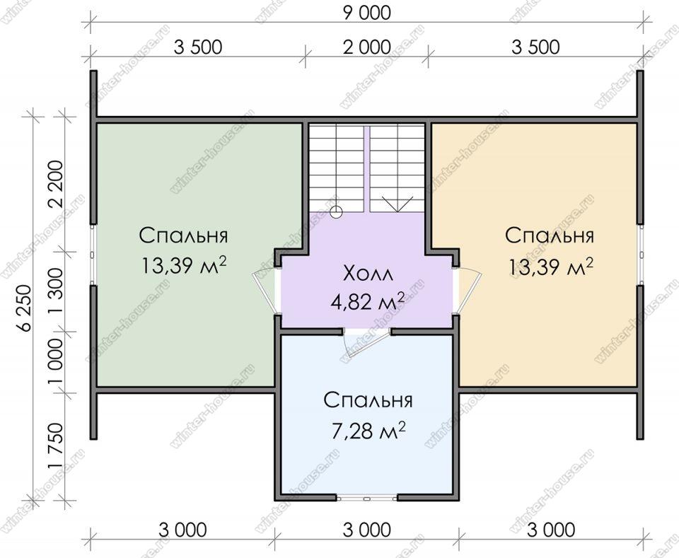 План дома для постоянного проживания 7х9 с мансардой и террасой