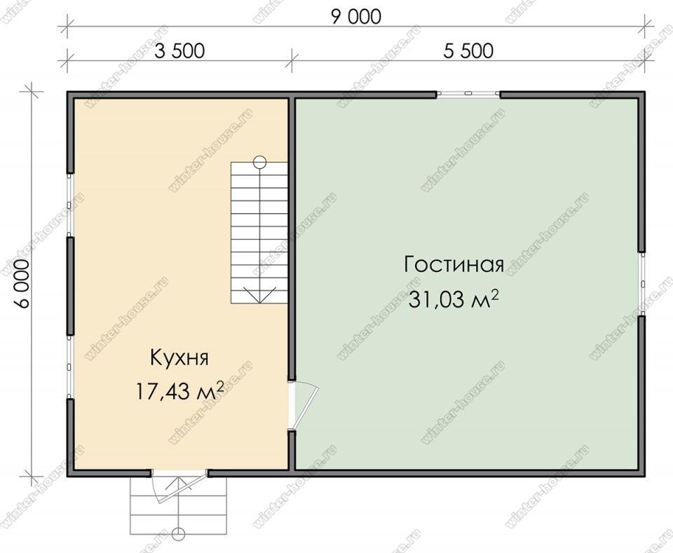Планировка дома для постоянного проживания 6 на 9 с мансардой