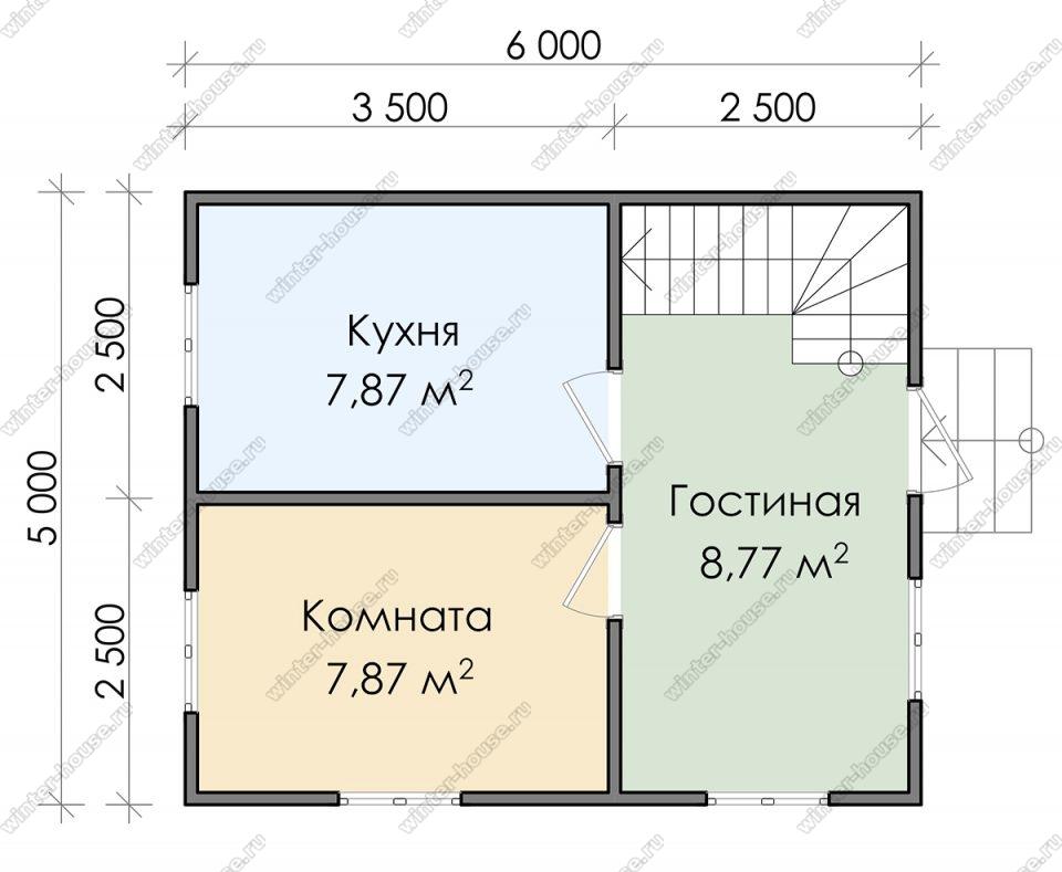 Планировка дачного дома 5 на 6 с мансардой