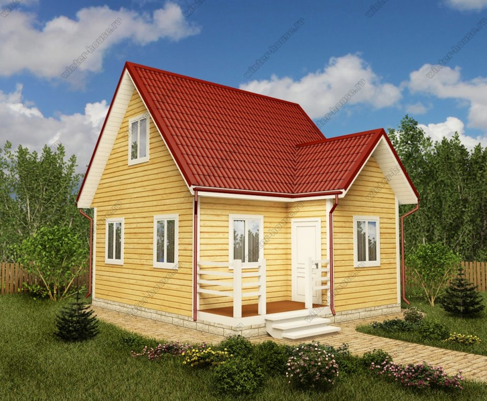 Проект дачного дома 6 на 7 с мансардой и террасой