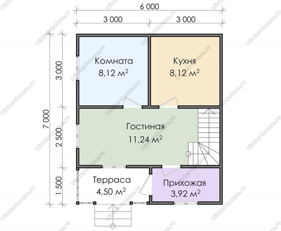 Планировка дачного дома 6 на 7 с мансардой и террасой